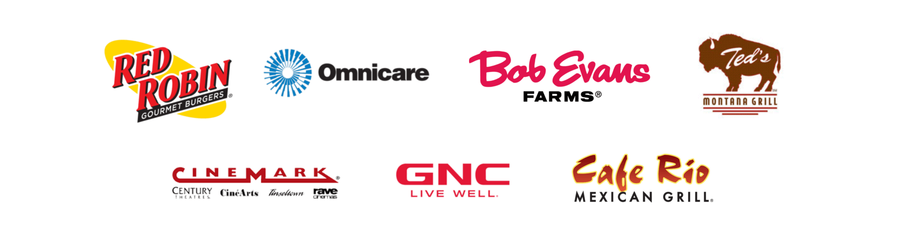 Red Robin, Omnicare, Bob Evans Farms, Ted's Montana Grill, Cinemark, GNC, Cafe Rio Mexican Grill